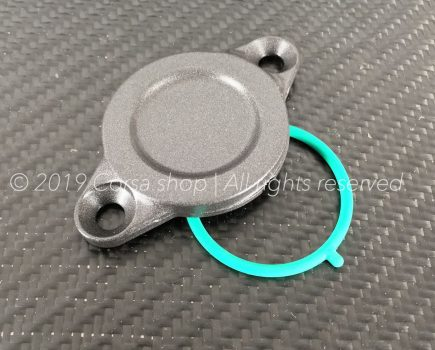Genuine Ducati dark grey alternator side inspection cover with O-ring. Ducati part-no. 69924531A replaces 24712101AD.