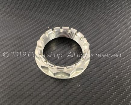 Genuine Ducati M48 rear wheel nut / castle. Ducati Part-no. 75012072AA replaces 75011391A & 75011401A