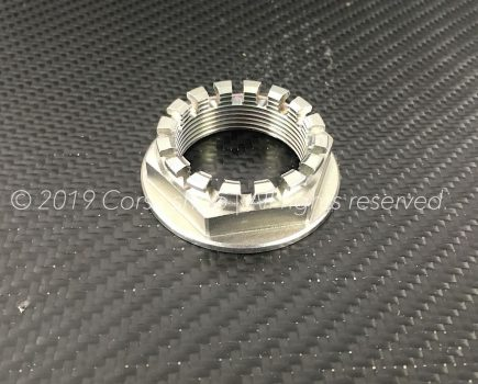 Genuine Ducati M33 rear wheel nut / castle. Ducati Part-no. 75012111AA repl. 75011581AA, 75011581A, 75010181C & 75010181A.