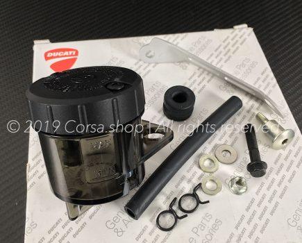 Genuine Brembo RCS brake fluid reservoir (45ml) mounting kit. Brembo part-no. 110A26385 + Black smoke reservoir